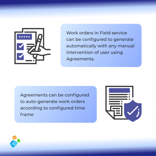 Work orders in Field service can be configured to generate automatically with any manual intervention of user using Agreements.